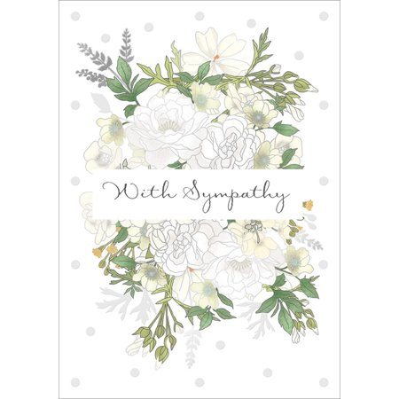 Quire Silver Foil Outlined Flowers and Deep Green Leaves Sympathy Card