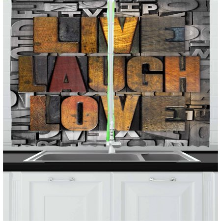 Live Laugh Love Curtains 2 Panels Set, Saying Promoting the Sacred Values of Human Life in Colorful a Pattern, Window Drapes for Living Room Bedroom, 55W X 39L Inches, Multicolor, by Ambesonne ()