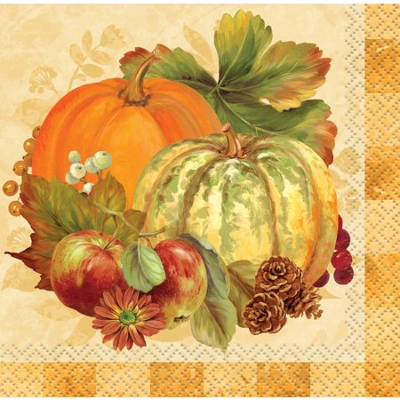 Pumpkin Harvest Fall Paper Beverage Napkins, 5 in, 16ct