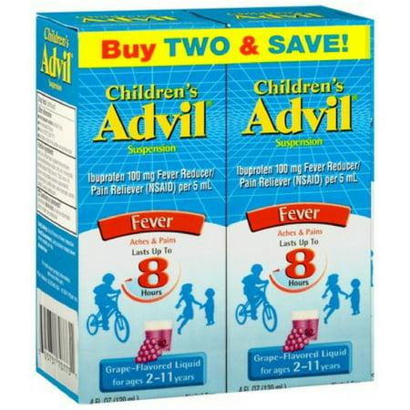 2 Pack - Advil Children's Fever Ibuprofen Liquid Suspension, Grape 8 oz, Twin Pack