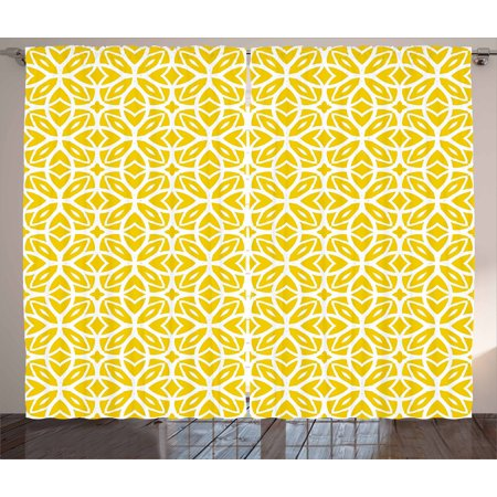 Yellow And White Curtains 2 Panels Set  Geometric Art Pattern With Lacing Shapes 30S Style Spring Fashion  Window Drapes For Living Room Bedroom  108W X 90L Inches  Earth Yellow White  By Ambesonne