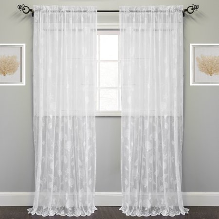 Marine Life Motif Knitted Lace Window Curtain Panel 56