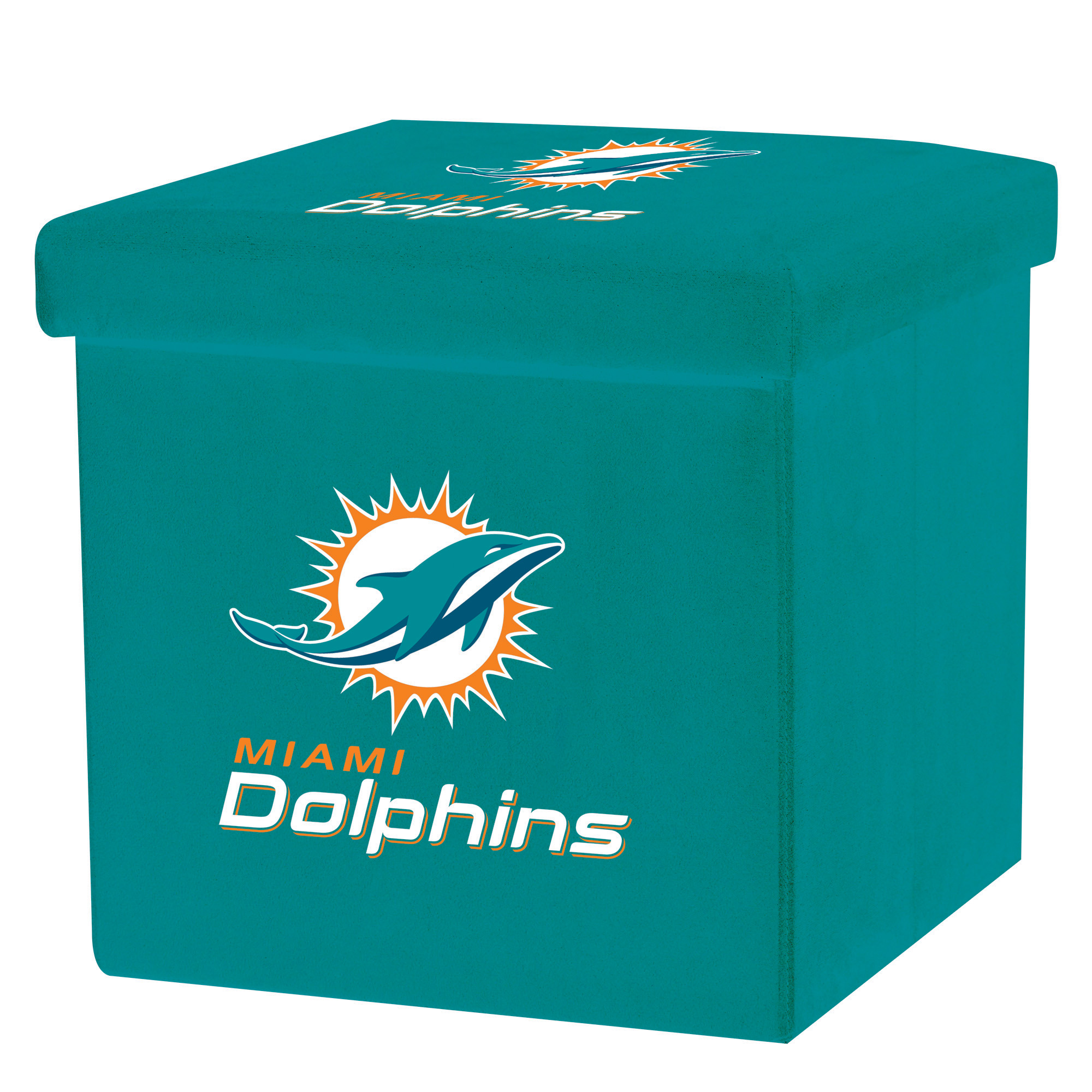 Franklin Sports NFL Miami Dolphins Storage Ottoman with Detachable Lid
