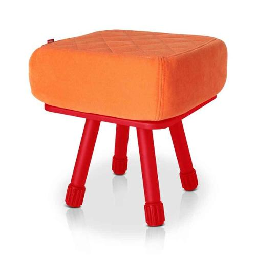 Krukski Stool in Red with Orange Tablitski Cushion