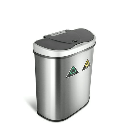 Nine Stars 18.5-Gallon Motion Sensor Recycle Unit and Trash Can, Stainless