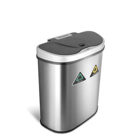 NineStars 18.5-Gallon Motion Sensor Recycle Unit and Trash Can, Stainless Steel