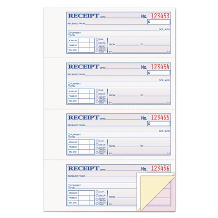 adams receipt book 7 5 8 x 11 three part carbonless 100 forms