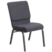 18.5''W Stacking Church Chair in Dark Gray Fabric - Silver Vein Frame