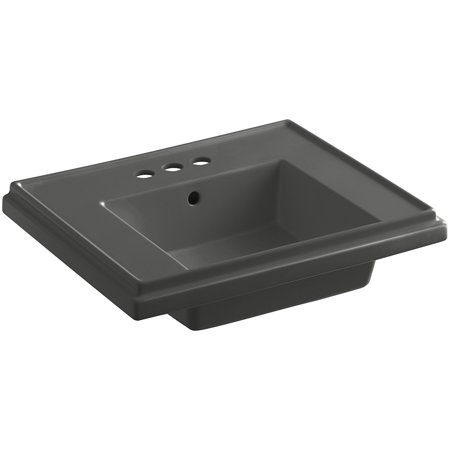 KOHLER K-2757-4-58 Tresham 24-Inch Pedestal Bathroom Sink Basin with 4-Inch Centerset Faucet Drilling, Thunder Grey
