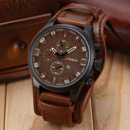 3b05fb46b kingslim - Fashion Curren Men Date Stainless Steel Leather Analog Quartz  Sport Wrist Watch-brown - Walmart.com