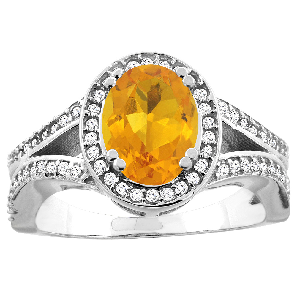 10K White Gold Natural Citrine Split Ring Oval 8x6mm Diamond Accent, size 5.5 by Gabriella Gold