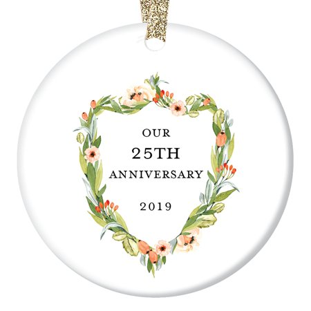 25th Anniversary Gifts, Twenty-Fifth Christmas Ornament 2019, 25 Years Together Couple Husband & Wife Love Wedding Anniversaries Ceramic Present Keepsake 3