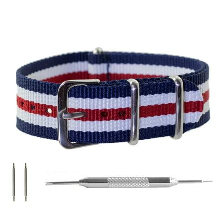 Navy Regimental - Red, White & Navy Regimental Striped (5 Stripes) Ballistic Nylon NATO Watchband + Spring Bar Tool (20 & 22mm)