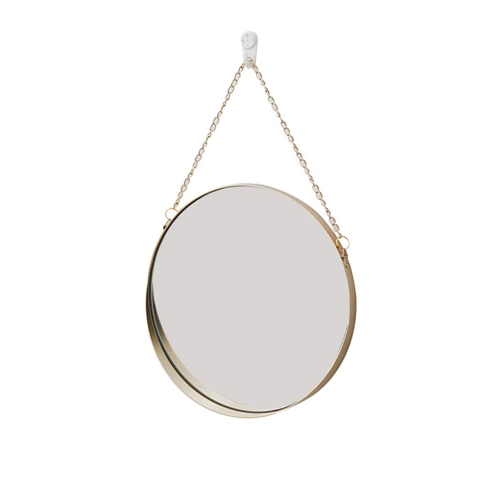 Vosarea Hanging Wall Mirror Round Vanity Mirror For Home Bathroom Bedroom Living Room Decor Golden Walmart Com Walmart Com
