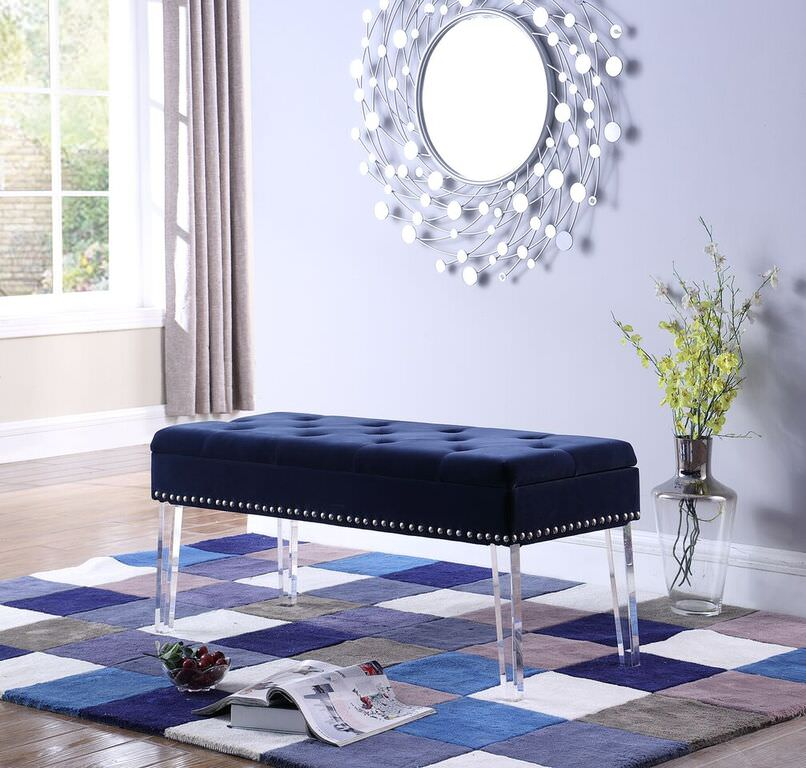 "18"" in NAVY BLUE TUFTED MID-CENTURY STORAGE BENCH NAILHEAD TRIM w/ ACRYLIC CLEAR LEGS"