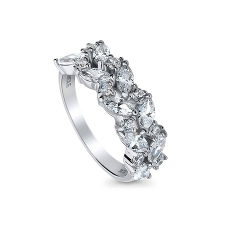 Rhodium Plated Sterling Silver Marquise Cut Cubic Zirconia CZ Cluster Split Shank Ring Size 10.5 (Rhodium Plated Marquis)