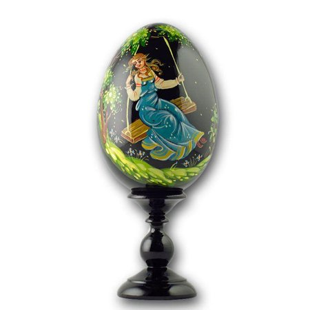 Girl on a Swing Collectible Wooden Russian Easter Egg 6.25 - Swing Collectible