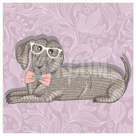 Hipster Dachshund with Glasses and Bowtie. Cute Puppy Illustration for Children and Kids. Dog Backg Print Wall Art By cherry blossom girl