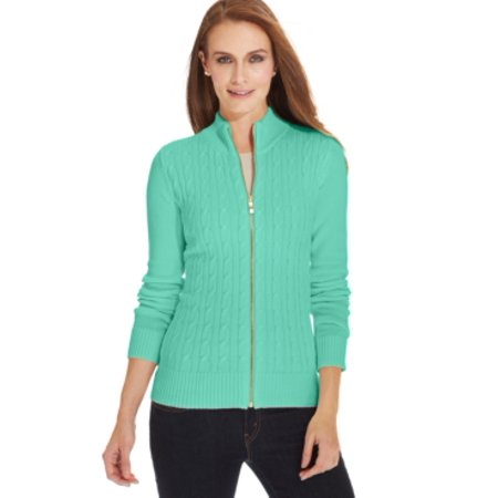 Charter Club Petite Long-sleeve Cable-knit Mint Bowl Sweater Size PS
