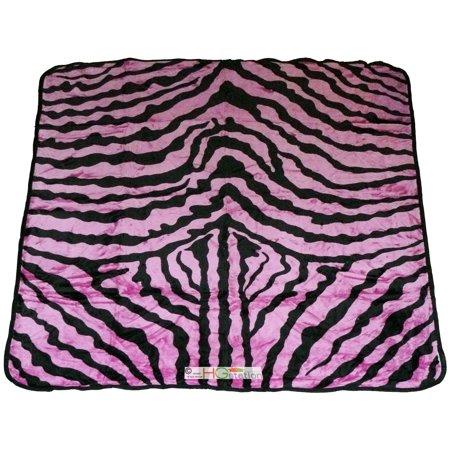 79x94 Queen Ultra Soft Smooth Faux Mink Zebra Skin Fur Plush Throw Blanket Pink