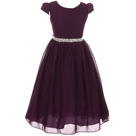 Little Girls Dress Short Sleeve Chiffon Rhinestone Belt Holiday Party Flower Girl Dress Eggplant Size 2 (K64K20)