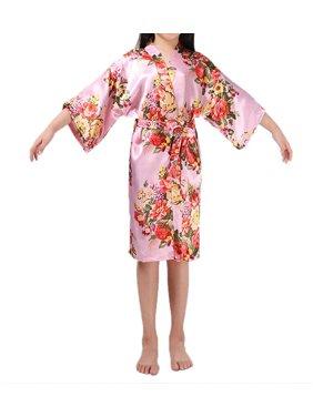 Product Image Toddler Children Baby Girls Pajamas Robe Kimono Bridal  Bridesmaid Silk Collared Sleepwear 843a32a4e