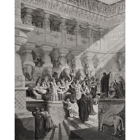 Engraving Illustrating Daniel V 25 To 28 Of Daniel Interpreting The Writing On The Wall From The Dore Bible By Gustave Dore 1832-1883 French Artist And Illustrator Canvas Art - Ken Welsh Design Pics