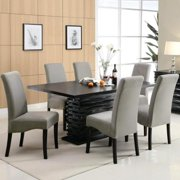 A Line Furniture Bass Modern Black Dazzling Wave Design Grey Upholstered Dining Set