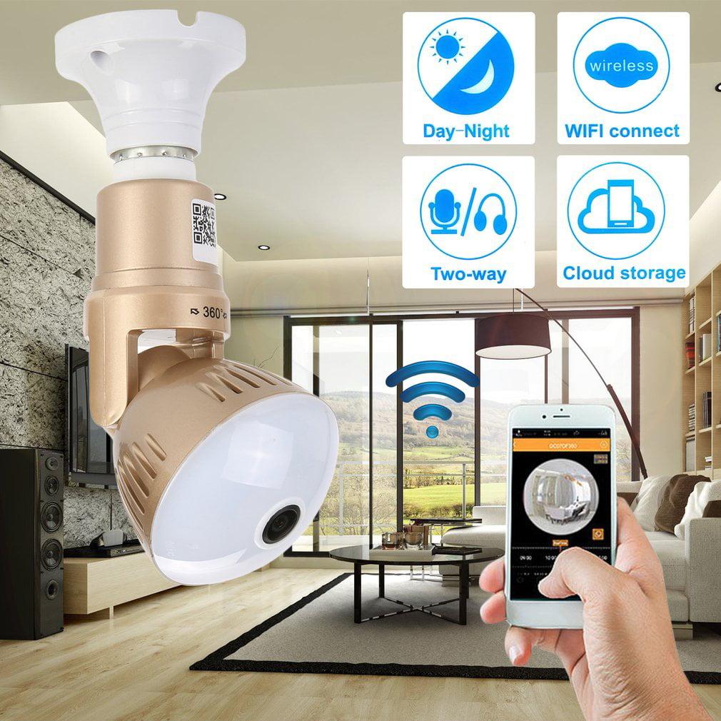 HD 1080P Wifi Light Bulb Camera Home Security IP Camera 360 Degree Panoramic Webcam Durable Surveillance Device