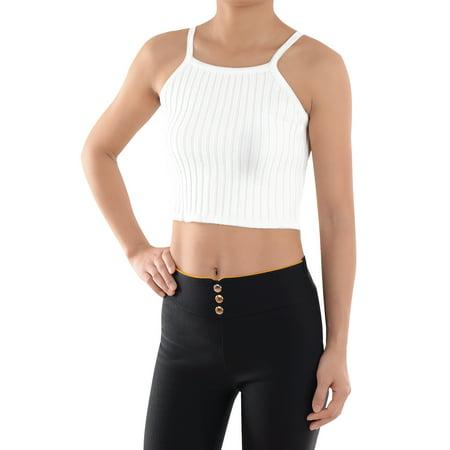 Stretch Knit Crop - Summe Womens Vest Spaghetti Strap Stretch Rib Knit Cami Crop Top Racerback Tank