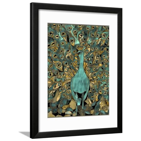 Gold Teal Peacock Teal Turquoise Stained Glass Bird Framed Print Wall Art By Mindy -