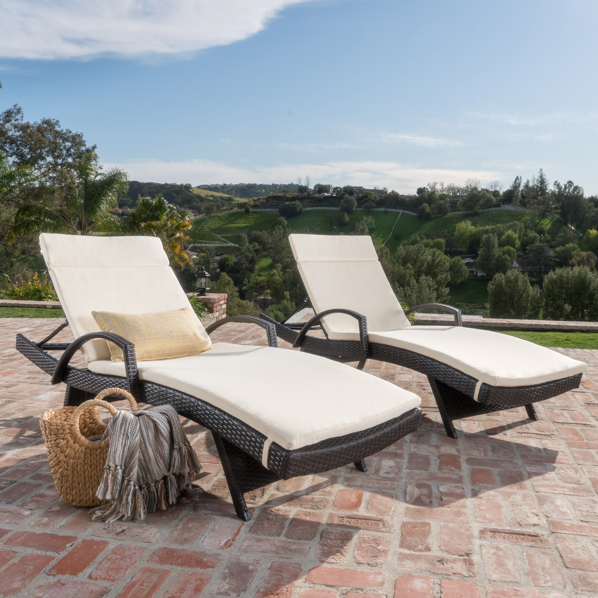 Anthony Outdoor Wicker Adjustable Chaise Lounge with Arms and Cushion, Set of 2, Multibrown, Ivory