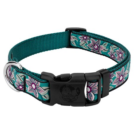 Country Brook Design Deluxe Turquoise Flower Ribbon Dog Collar