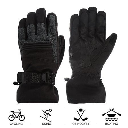 Ski Gloves, Waterproof Windproof 3M Thinsulate Insulation Keep Warm Winter Outdoor Gloves with Anti-Slip PU Palms for Skiing, Snowboarding, Riding, Climbing and Skating Color:Black Size:L 1200 Gram Thinsulate Ultra Insulation