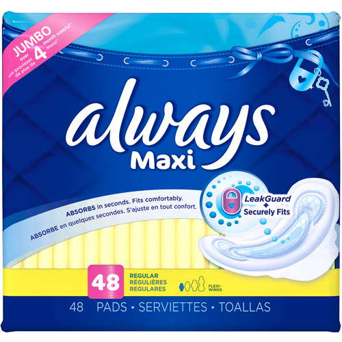 Always Maxi Regular with Wings, Unscented Pads 48 Count
