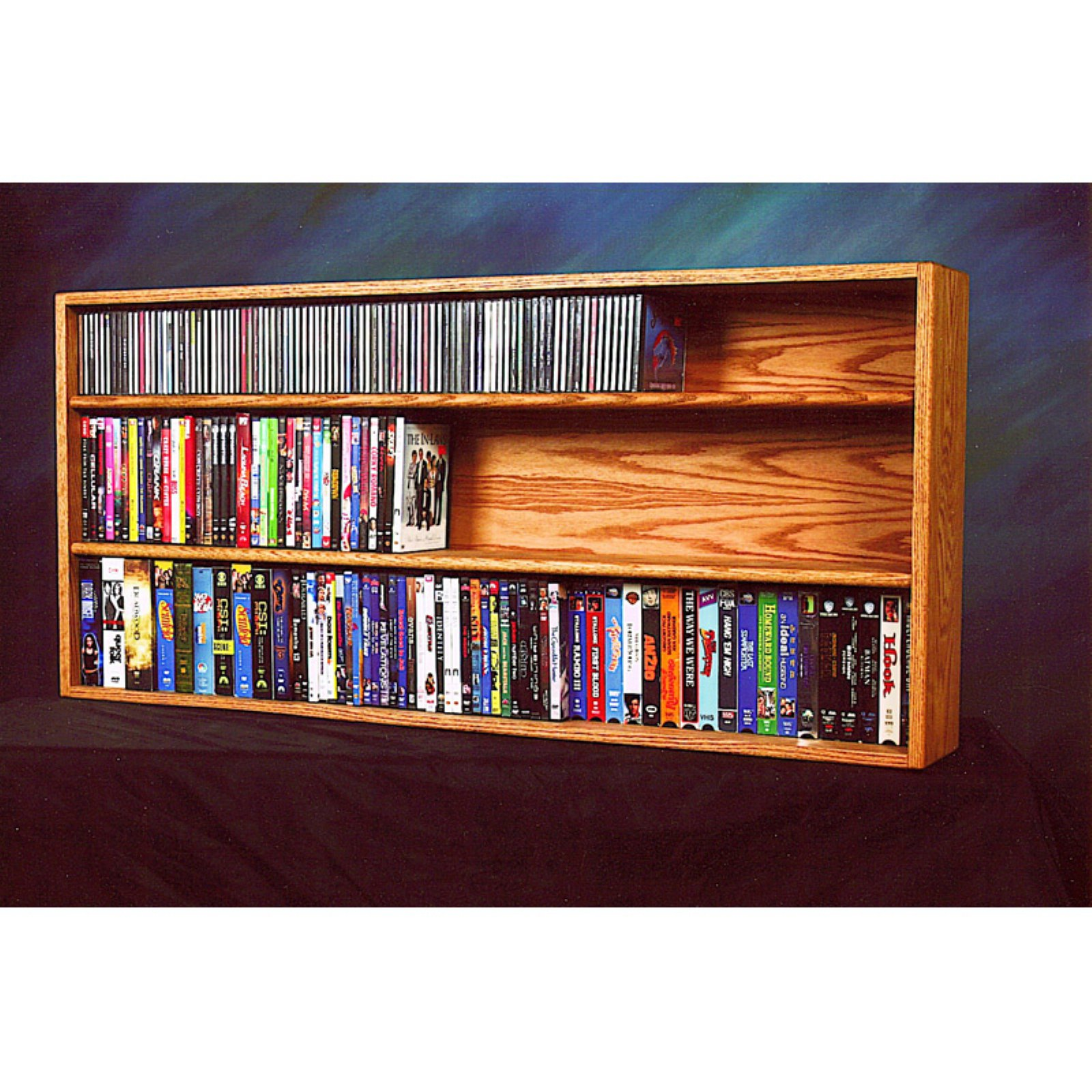 The Wood Shed Solid Oak Wall / Shelf Mount CD / DVD / VHS Tape Media Cabinet