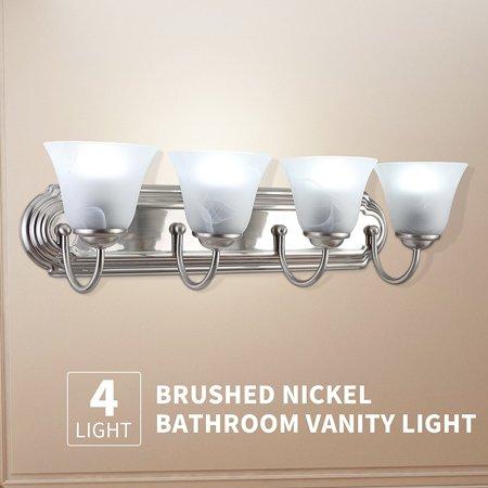 Light Brushed Nickel Bathroom Vanity Light Bath Fixture Alabaster - 4 light bathroom fixture brushed nickel