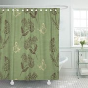 SUTTOM Butterfly Brown Sage Vintage Herbs on Green Doodle Collect Shower Curtain 66x72 inch