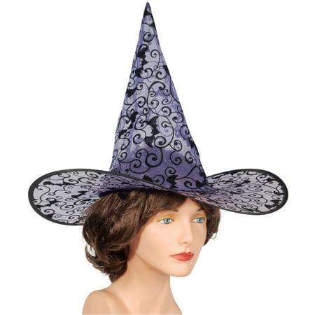 Loftus Women Batty Witch Design Costume Hat, White Black, One - Black And White Halloween Face Designs