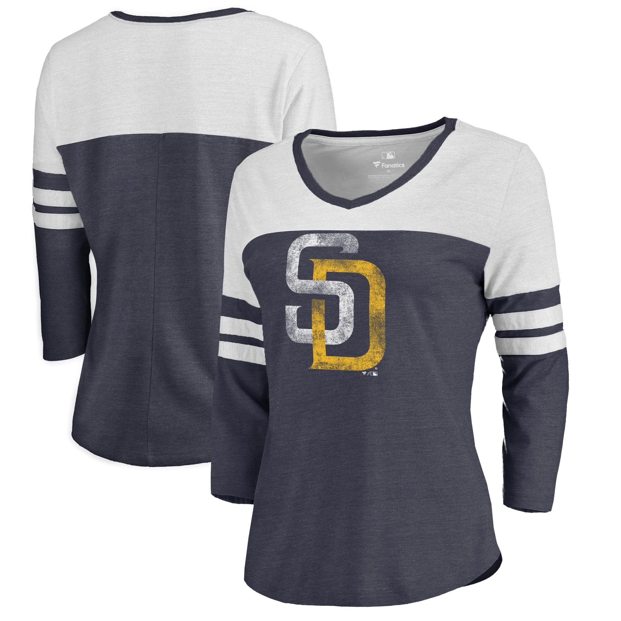 San Diego Padres Fanatics Branded Women's Distressed Team Logo 3/4 Sleeve Tri-Blend T-Shirt - Navy/White