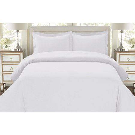Hotel Luxury 3pc Duvet Cover Set 1500 Series Egyptian Quality Double Brushed Microfiber Bedding Collection, Queen Size White ()
