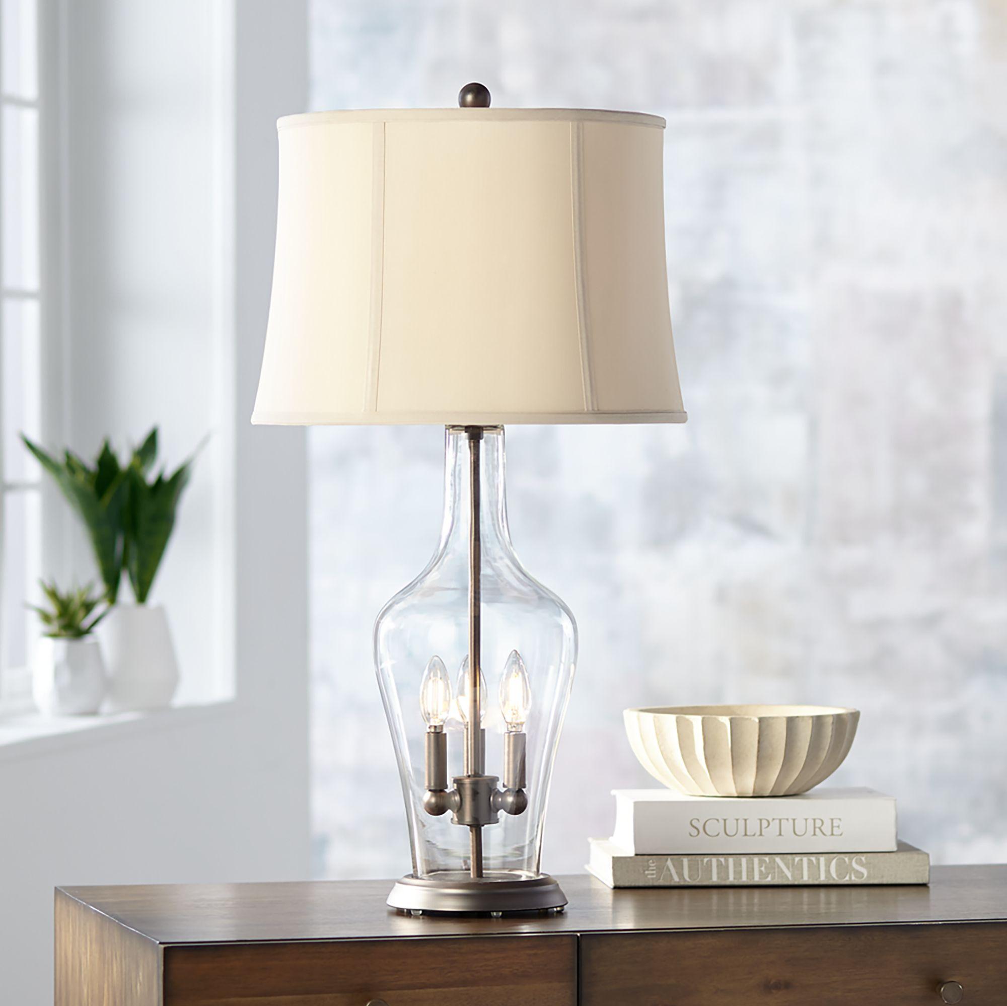 Regency Hill Jeremy Clear Glass Night Light Table Lamp