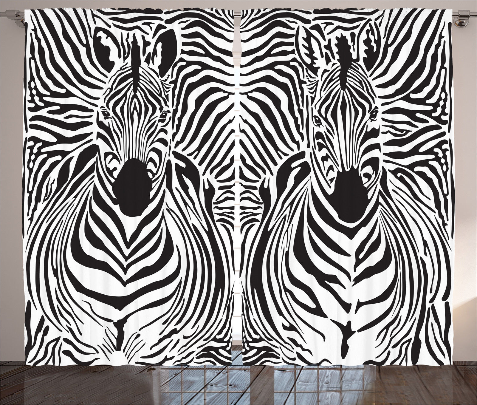 Zebra Print Decor Curtains 2 Panels Set, Illustration Pattern Zebras Skins  Background Blended Over Zebra