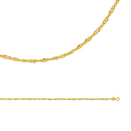 Singapore Chain Solid 14k Yellow Gold Necklace Twisted Hollow Diamond Cut Style Light, 2.1 mm - 16,18,20,22,24 inch