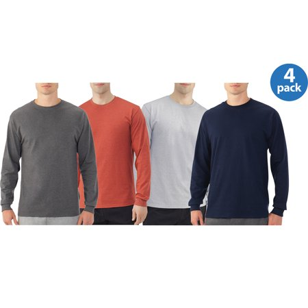 Fruit of the Loom Platinum Eversoft Mens Long Sleeve Crew T-Shirt , 4 Pack Value Bundle