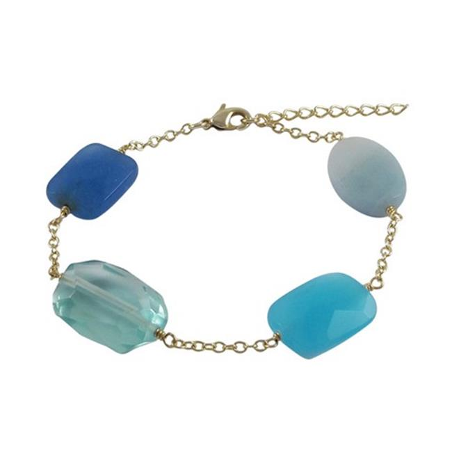 Dlux Jewels Aqua & Blue Chalcedony Semi Precious Faceted Chunky Stones with Gold Plated Brass Chain Bracelet, 7.5 in. by Dlux Jewels