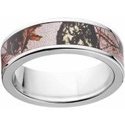mossy oak pink break up womens camo 7mm stainless steel wedding band with polished edges and - Mossy Oak Wedding Rings