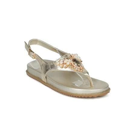 Women Jeweled Open Toe Thong Slingback Molded Footbed Sandal HH04 ()