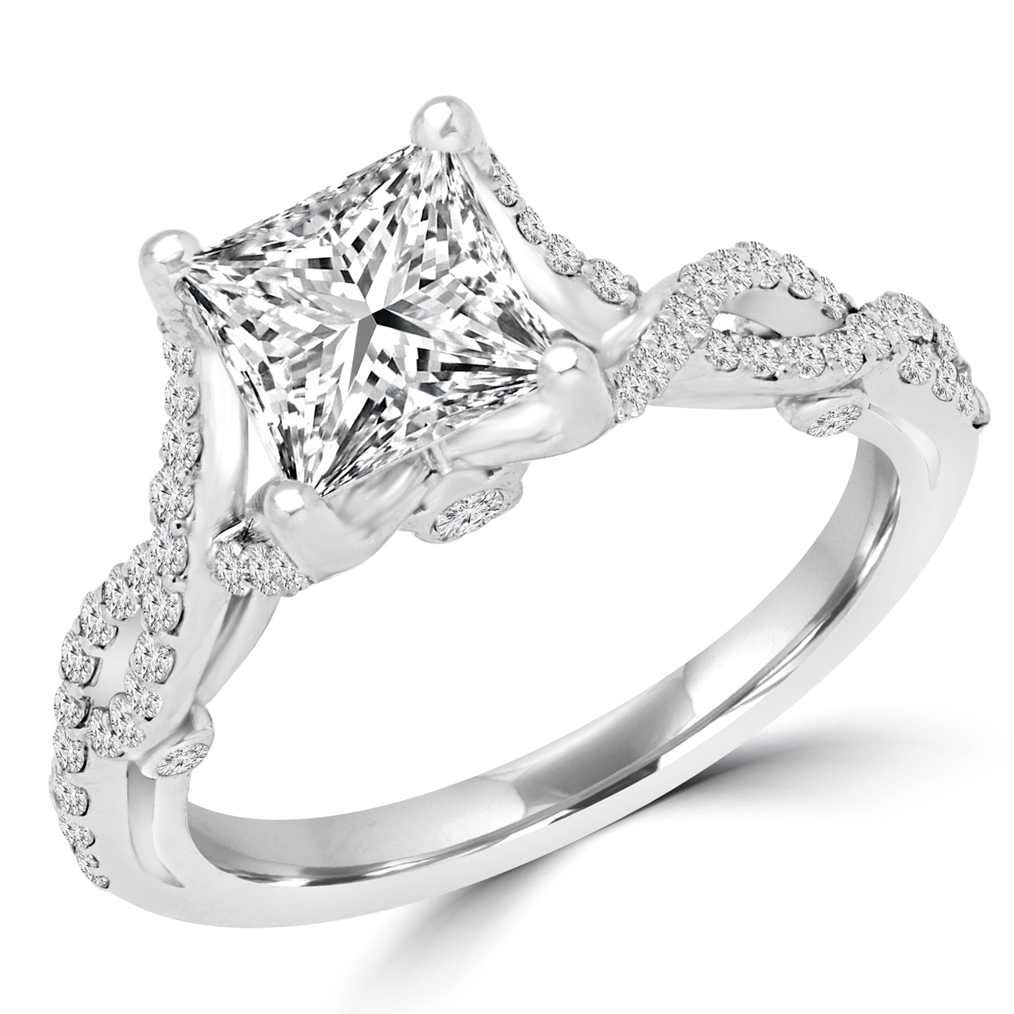 1 1/3 CTW Princess Diamond Halo Engagement Ring in 18K White Gold (MD170444) - image 2 of 2