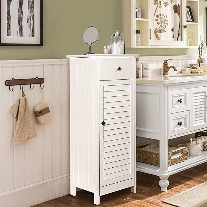 KINGSO Bathroom Floor Cabinet Storage Organizer Set with Drawer and Adjustable Single Shutter Door Wooden Brown